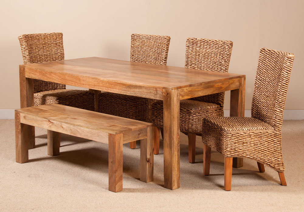 Details About SOLID LIGHT MANGO WOOD RATTAN BANANA LEAF DINING TABLE BENCH CHAIRS SET
