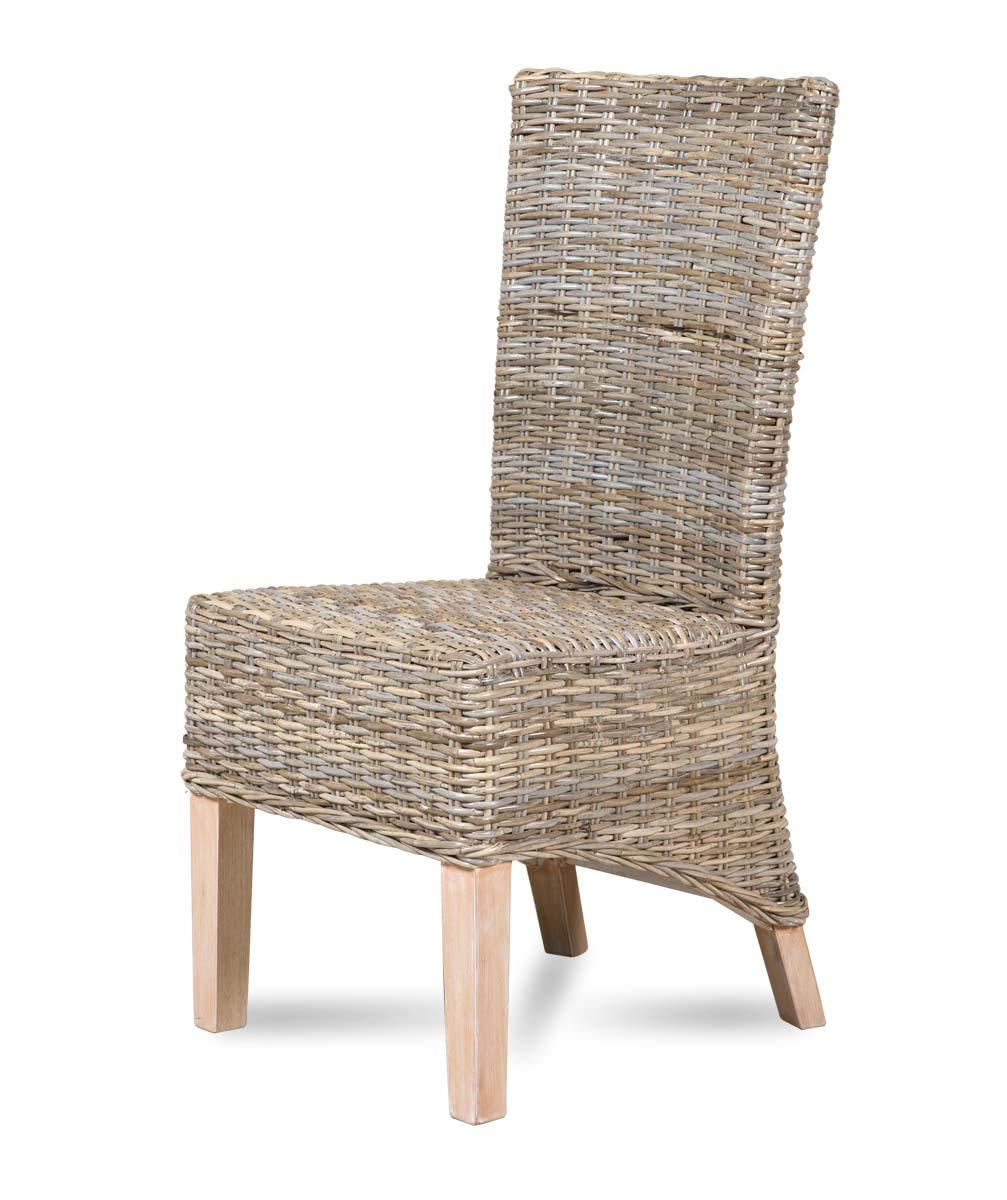 Wooden Wicker Furniture ~ Rattan wicker dining room chair kubu grey weave solid