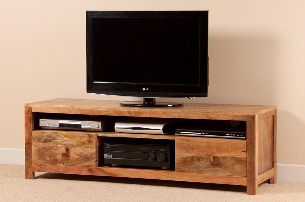 solid light natural mango wide large media tv cabinet. Black Bedroom Furniture Sets. Home Design Ideas
