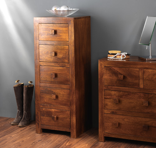 SOLID DAKOTA MANGO NARROW CHEST OF DRAWERS TALLBOY