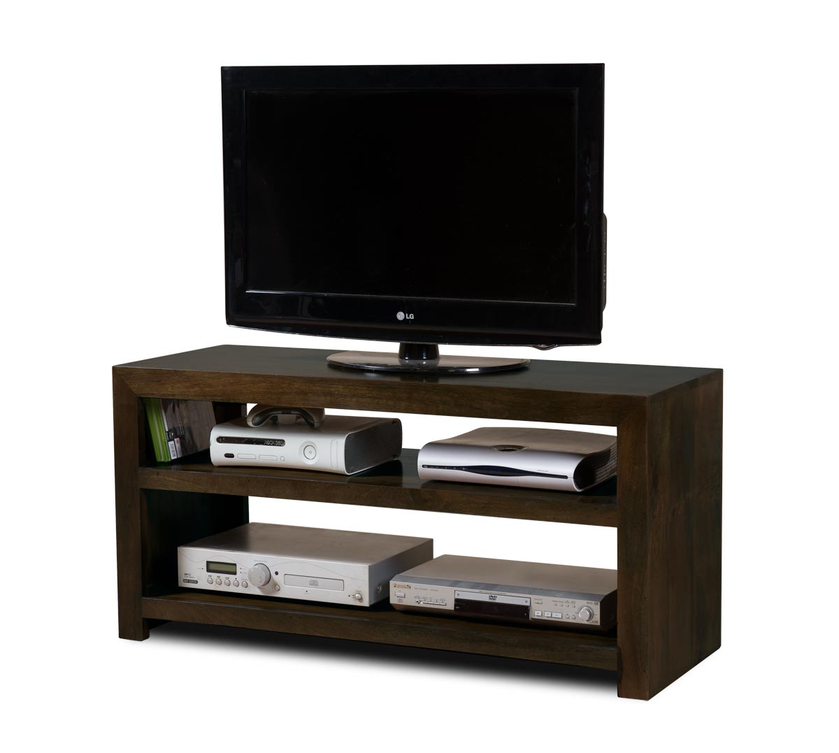 Solid dark mango wood wide open hi fi tv unit media - Open shelving living room ...