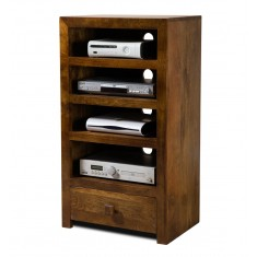 Dakota Mango Tall Hi-Fi Shelving Unit