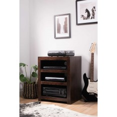 Dakota Dark Mango Low Hi-Fi Shelving Unit
