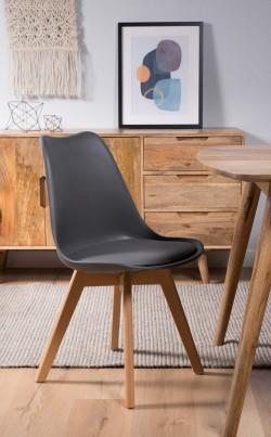 Scandi Pyramid Dining Chair With Pad - Dark Grey