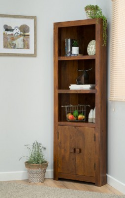 Dakota Mango Corner Bookcase Casa Bella Furniture Uk