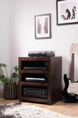 Dakota Dark Mango Low Hi-Fi Shelving Unit 1