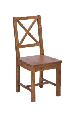 Brooklyn Industrial Cross Back Wooden Seat Dining Chair
