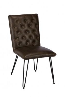Manhattan Leather Dining Chair - Dark Brown
