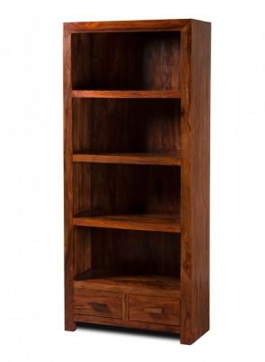 Mandir Sheesham Tall 2 Drawer Bookcase 1