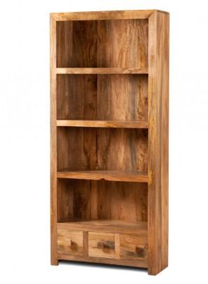 Dakota Light Mango 3-Drawer Bookcase 1
