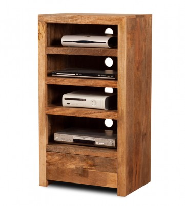 Dakota Light Mango Tall Hi-Fi Shelving Unit 1