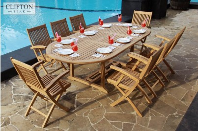 Solid Teak 8 Seater Extending Pario Set Folding Chairs Casa