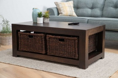 Dakota Dark Mango Large Coffee Table With Baskets