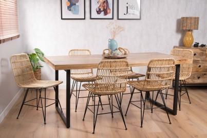 Havana Rattan 6-Seater Dining Set - Imari Industrial Table