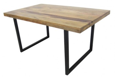 Industrial Solid Mango Wood Metal Dining Tables 120 150 180cm