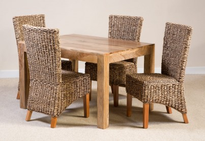 Milano Rattan 4-Seater Light Mango Dining Set 1