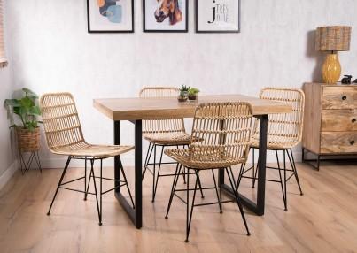 Havana Rattan 4-Seater Dining Set - Imari Industrial Table