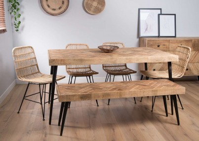 Urban Industrial Mango 6-Seater Dining Bench Set (Havana Chairs)