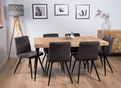 Urban Industrial Mango 6-Seater Dining Set (Capri Grey Chairs)