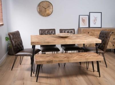 Urban Industrial Mango 6-Seater Dining Bench Set (Manhattan Chairs)