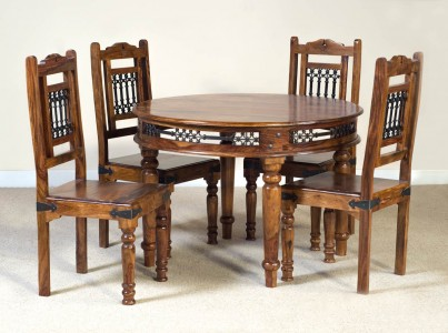 You are here home jali sheesham 4 seater dining set - Jali Sheesham Round 4 Seater Dining Set Casa Bella