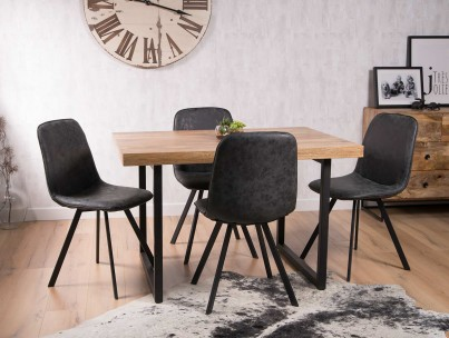 Arizona Industrial Mango 4-Seater Dining Set - Charcoal Grey