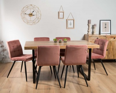 Brooklyn Industrial 140-180cm Extending 6-Seater Dining Set (Capri Pink Chairs)