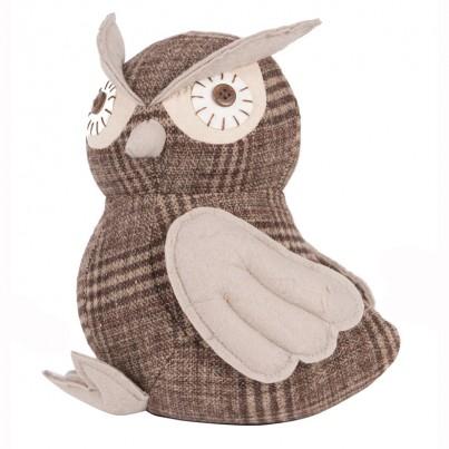 Grey & Brown Fabric Owl Doorstop