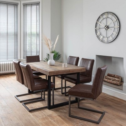 Brooklyn Industrial 6-Seater Dining Set - Empire Cantilever Chairs