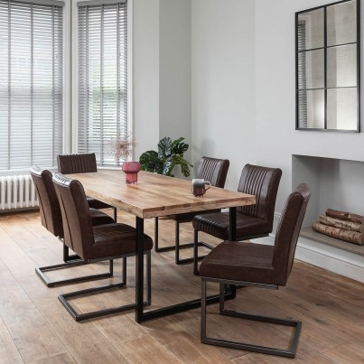 Imari Industrial Mango 6-Seater Dining Set - Empire Cantilever Chairs