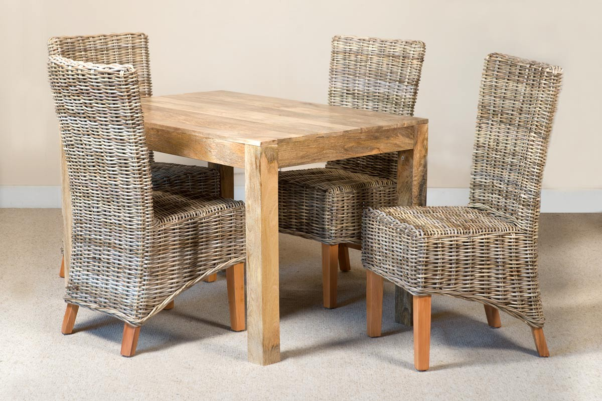 Kubu Rattan 4 Seater Light Mango Dining Set 1