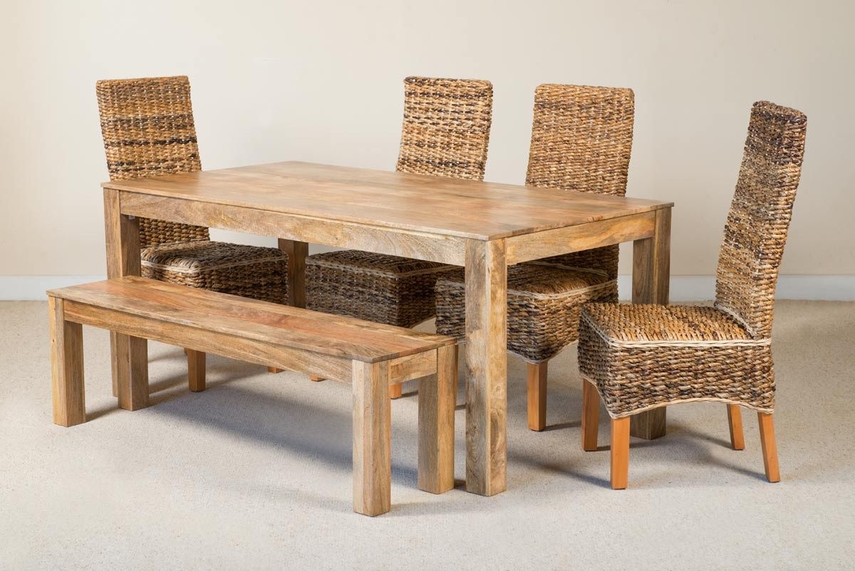 Catalina 6 Seater Light Mango Dining Set With Bench