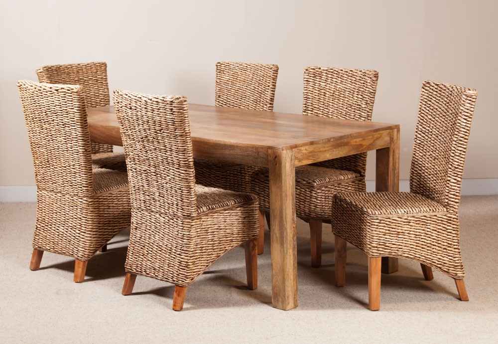 milano rattan 6 seater light mango dining set casa bella