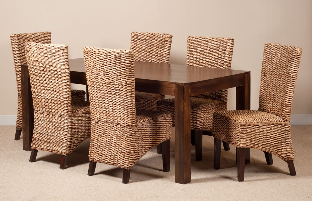 Charming Milano Rattan 6 Seater Dark Mango Dining Set
