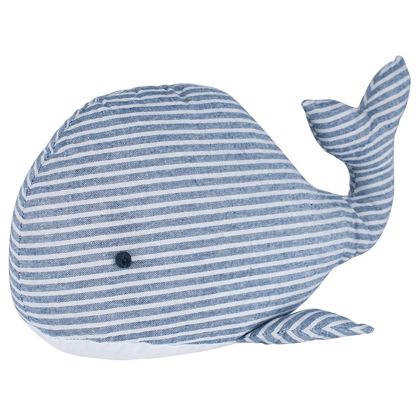 Blue white striped whale fabric doorstop casa bella for Whale fabric