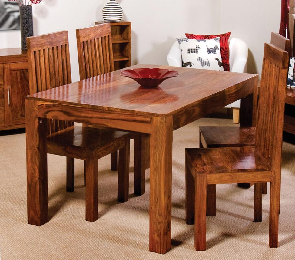 Cuba sheesham 4 seater dining set casa bella furniture uk - Seater dining tables ...
