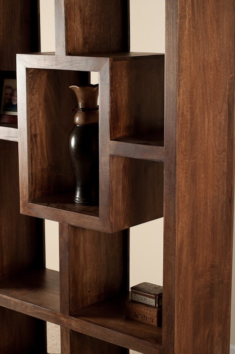 Soho Dark Mango Tall Open Bookcase Shelving Unit Casa