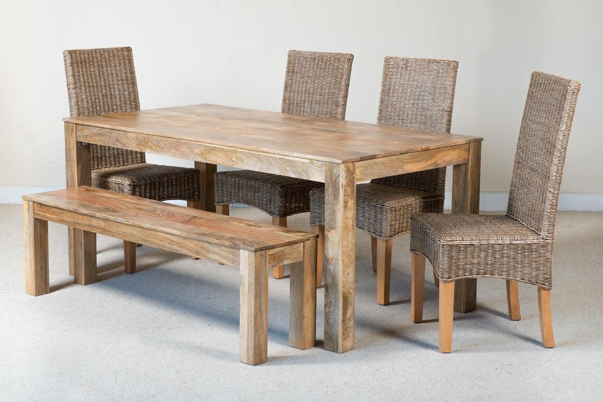 Terrific Ibis Rattan 6 Seater Light Mango Dining Bench Set Andrewgaddart Wooden Chair Designs For Living Room Andrewgaddartcom