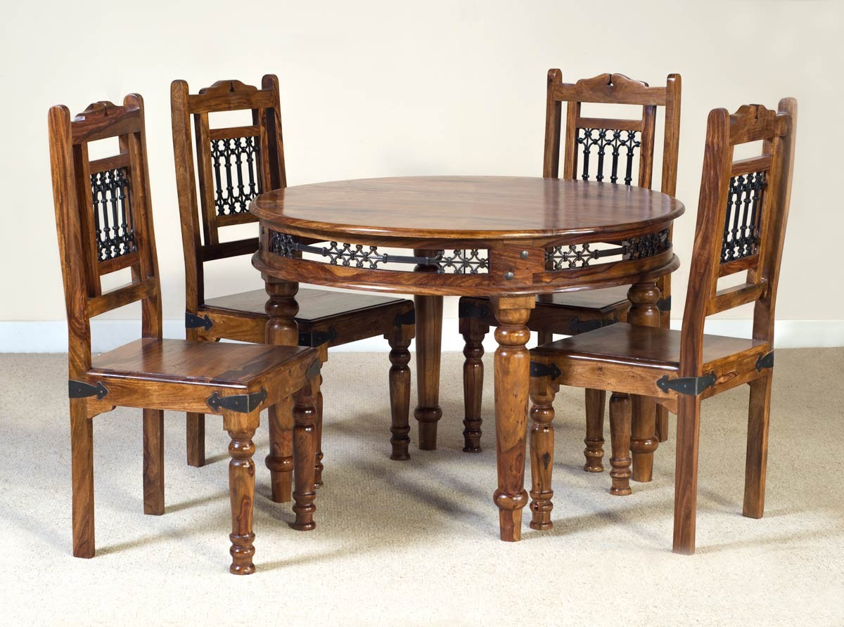 Jali sheesham round 4 seater dining set casa bella for Dining room table 4 seater