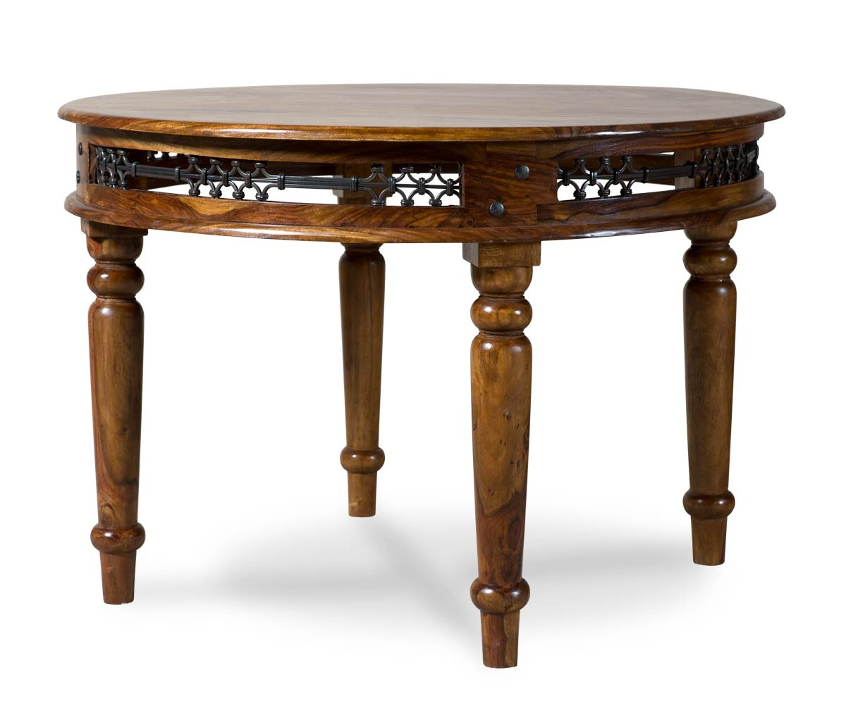 jali sheesham round 110cm dining table casa bella