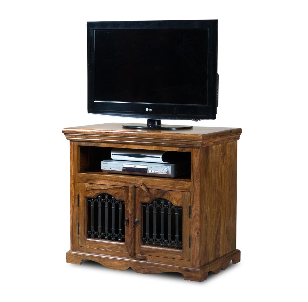 Jali sheesham tall tv cabinet casa bella furniture uk for Furniture uk
