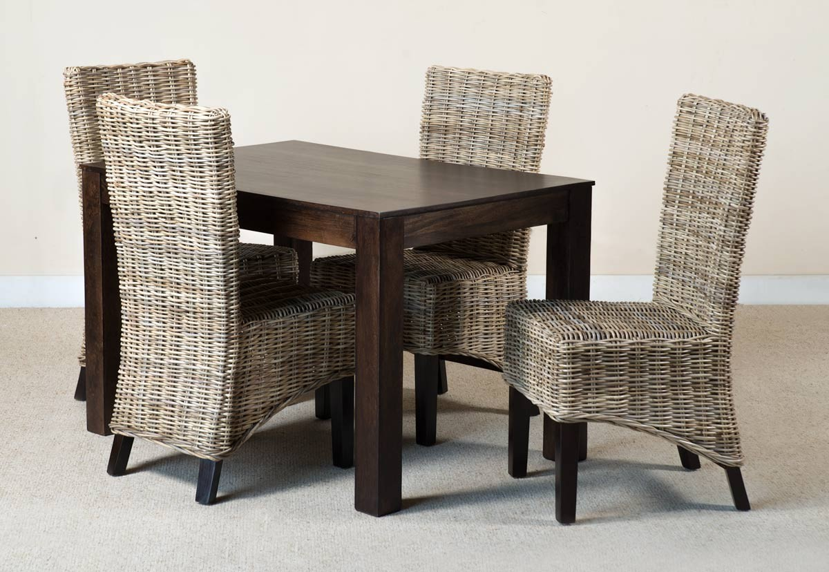 Kubu Rattan 4 Seater Dark Mango Dining Set 1