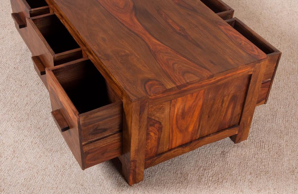 Sheesham Wood Furniture ~ Coffee table sheesham wood honey coloured drawers
