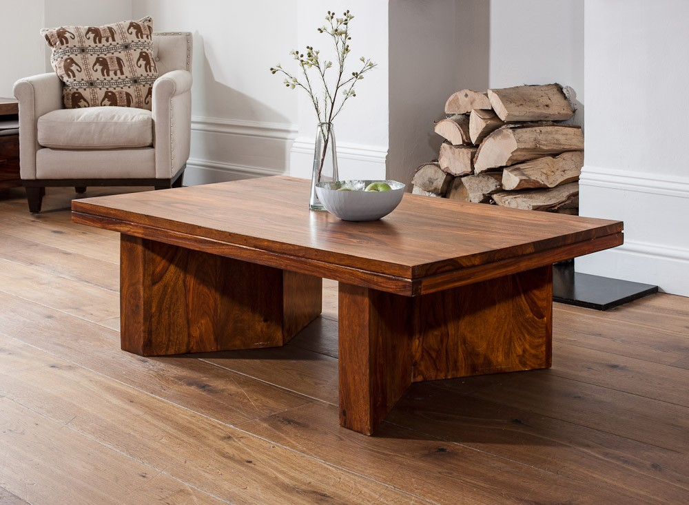 Angled Coffee Table Sheesham Wood Stained Honey Colour Casa Bella Furniture Uk