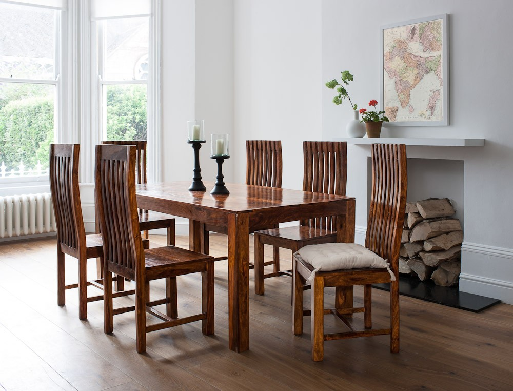 Mandir Sheesham 6 Seater Dining Set 150cm Table Casa Bella