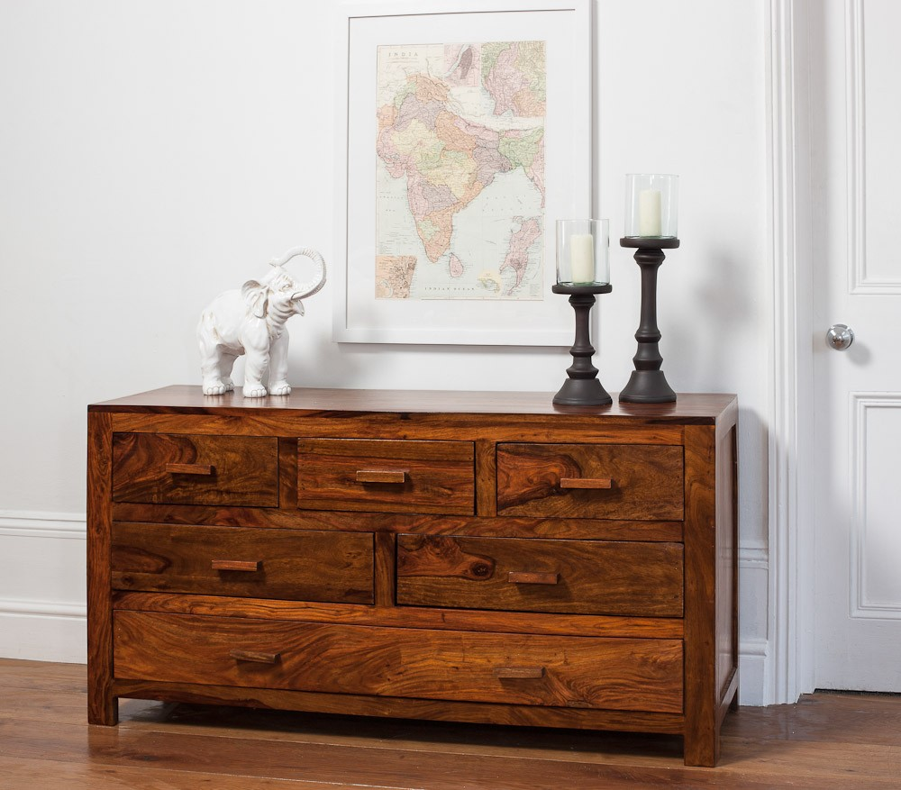 solid wood chest of drawers  large  casa bella furniture uk - mandir sheesham large chest of drawers