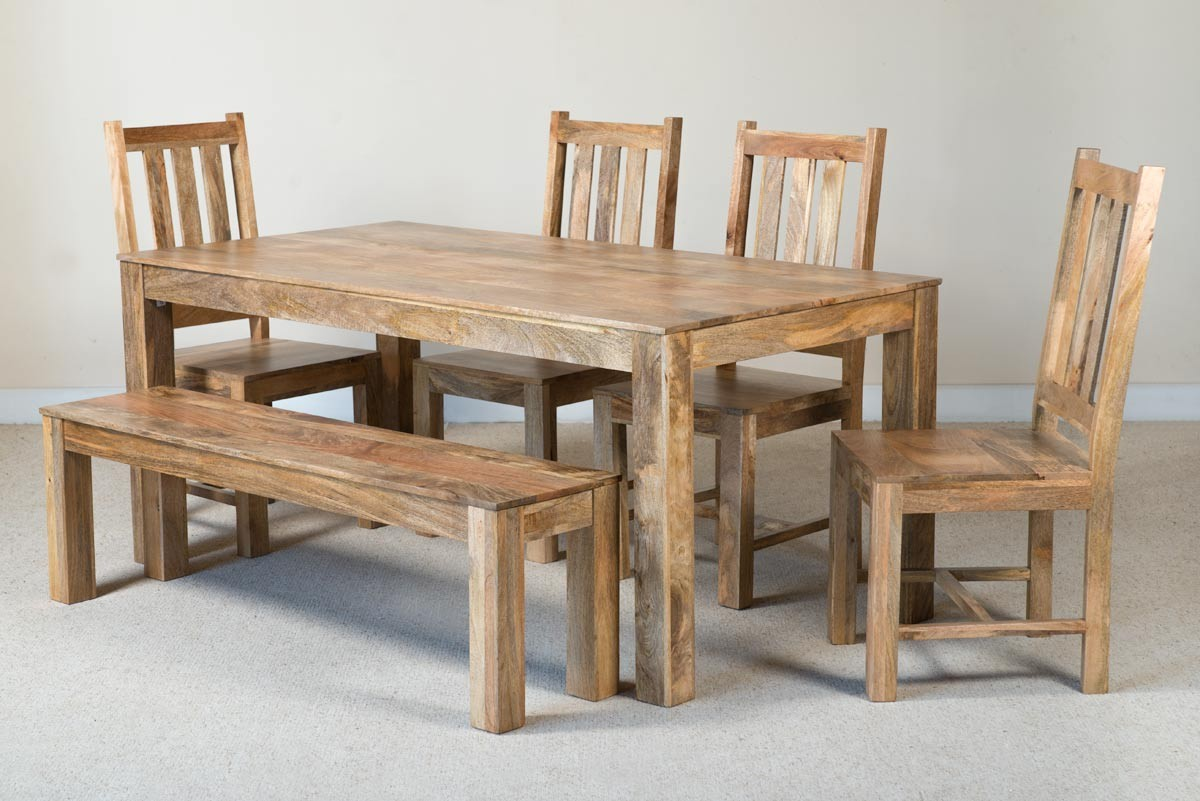 Awesome Mango Natural 6 Seater Dining Set With Bench Gmtry Best Dining Table And Chair Ideas Images Gmtryco