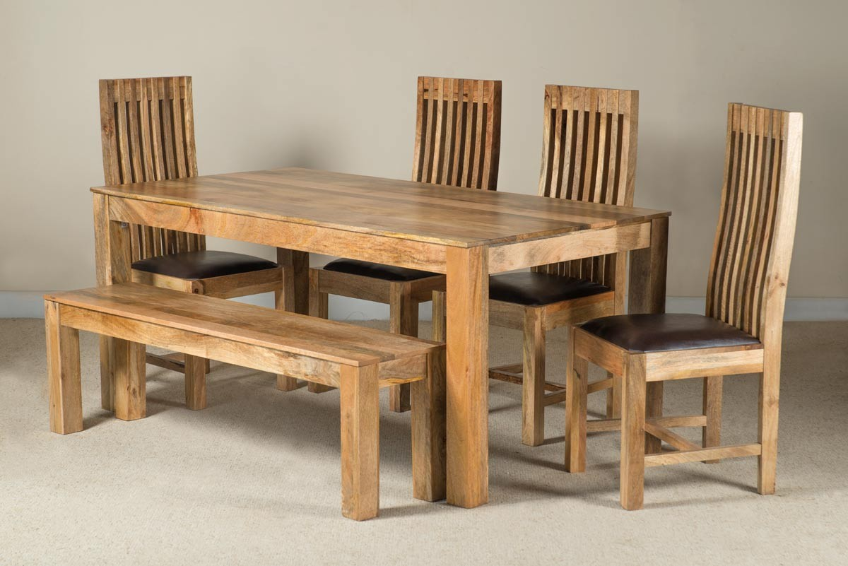 Mango Natural & Leather 6-Seater Dining Set With Bench ...