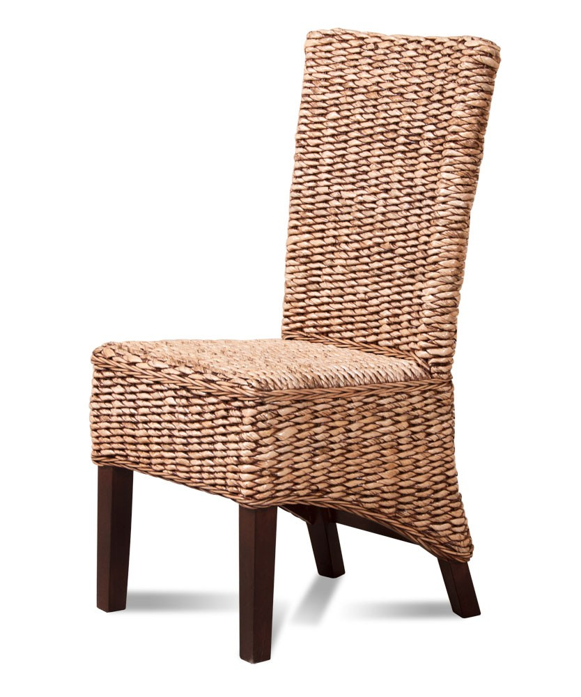 Dining chair dark banana leaf weave rattan furniture for Bamboo furniture uk