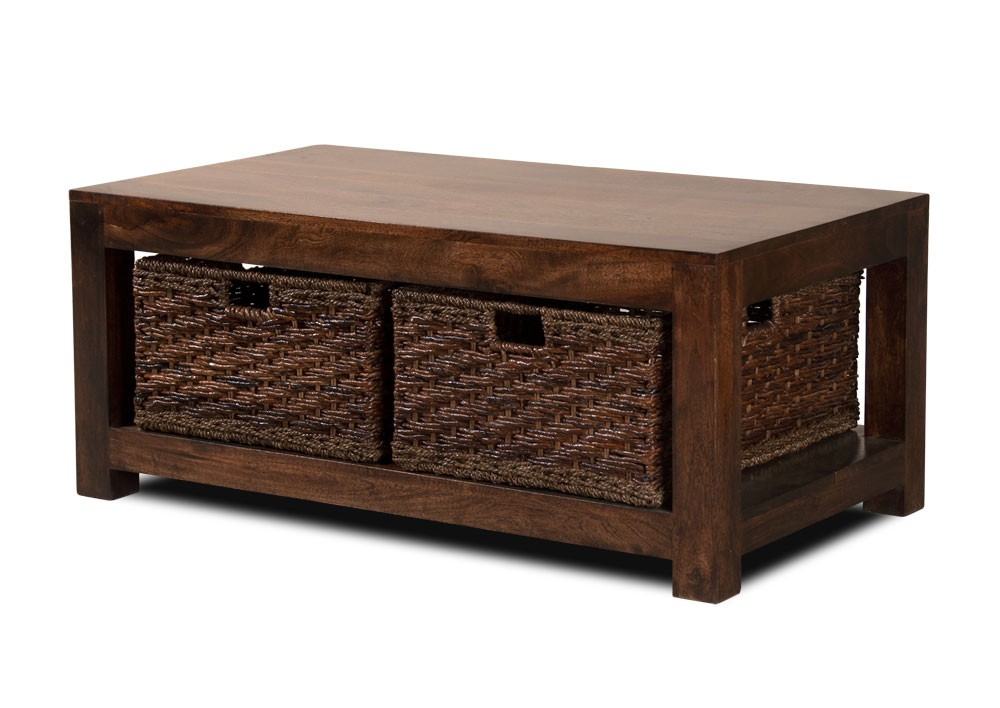 Dakota Dark Mango Large Coffee Table With Baskets Casa Bella Furniture Uk